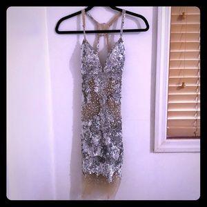 Jovanni Short sequin see-through Dress